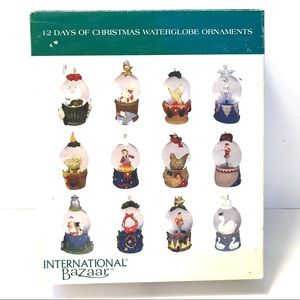 12 Days of Christmas Waterglobe Ornaments Vintage